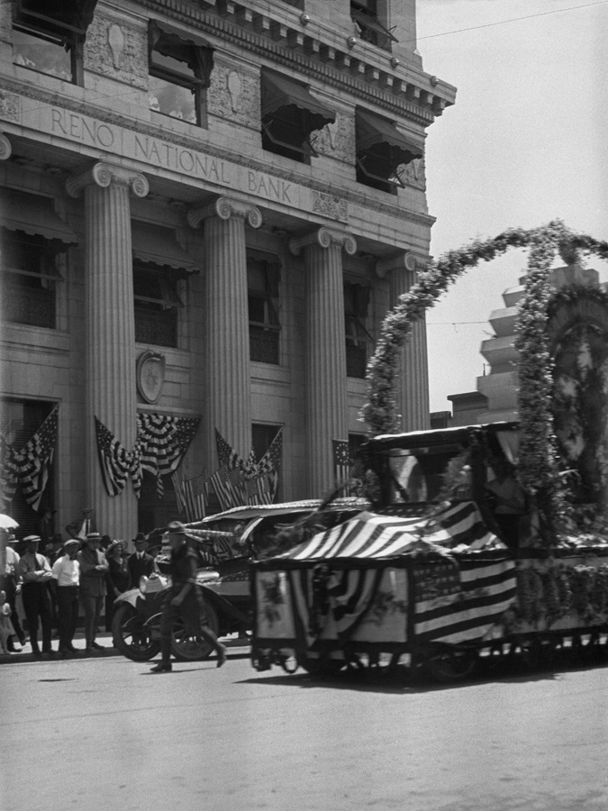 Fourth of July parade in downtown Reno, right after the end of World War One.
