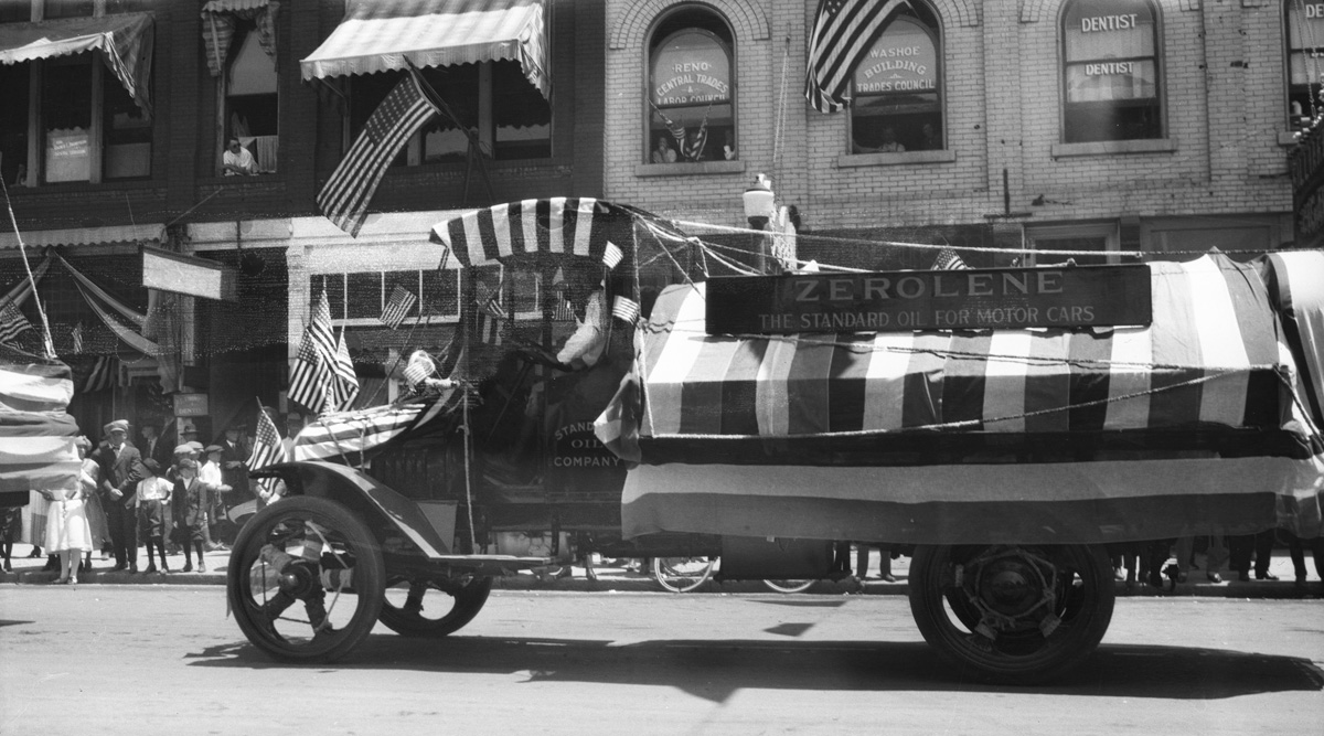 "A Standard Oil Company ""Zerolene"" float in the 4th of July parade."