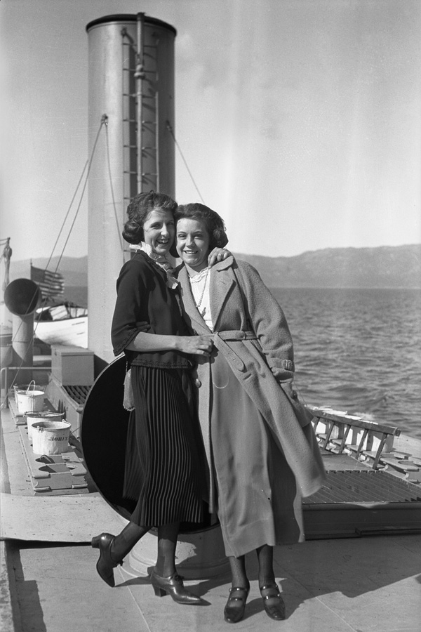 Two women on the top deck of the Steamer Tahoe.