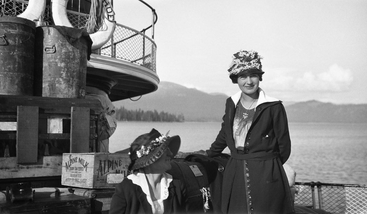 Two women on the deck of the Steamer Tahoe