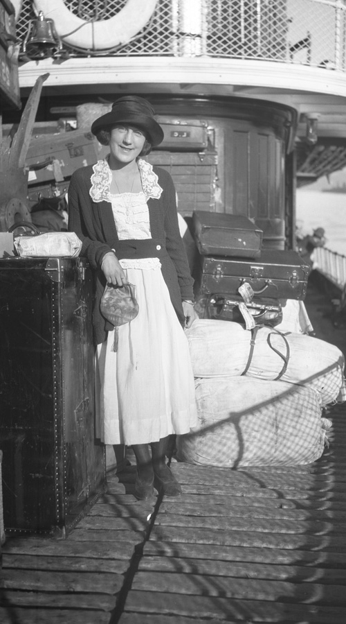 A young woman on the deck of the Steamer Tahoe.
